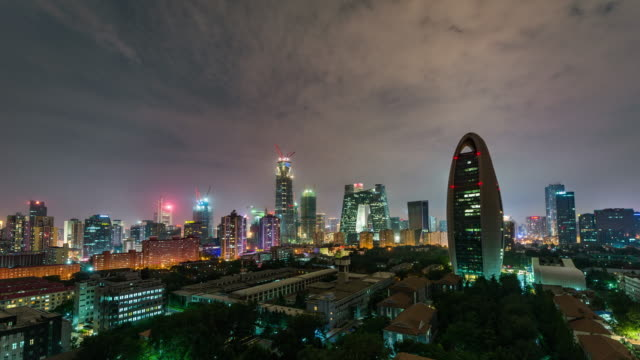 Time Lapse- Aerial View of Beijing Skyline at Night