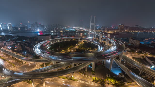 Time Lapse- Aerial View of Busy Overpass in Shanghai at Night (WS LR Pan)