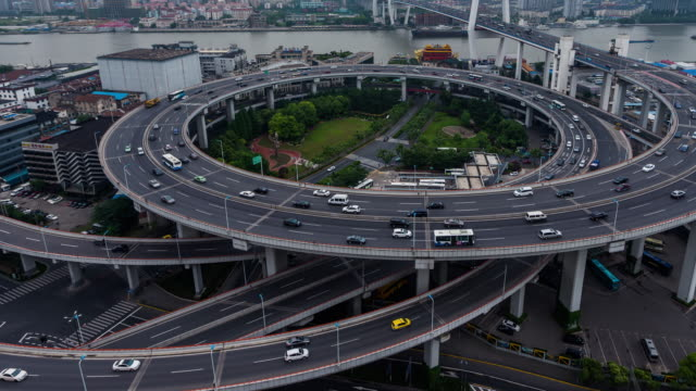 Time Lapse- Aerial View of Busy Overpass in Shanghai (CU HA)