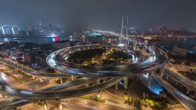 Zeitraffer-Luftaufnahme von belebten Straße Kreuzung in Shanghai (WS HA Schwenken)