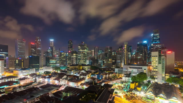 vídeos de stock e filmes b-roll de 4k time lapse :  aerial view of china town singapore in sunrise - singapura