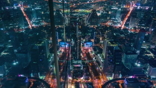 4k time lapse: aerial view of cityscape urban architecture with reflection from building wall at  point of view. - evening gown stock videos & royalty-free footage