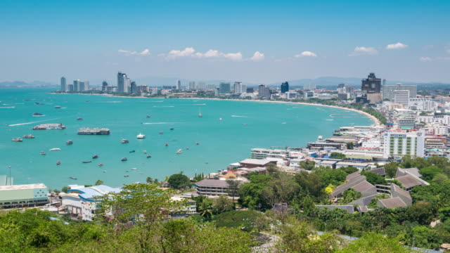 Time Lapse Aerial View of Coastline Pattaya, Thailand