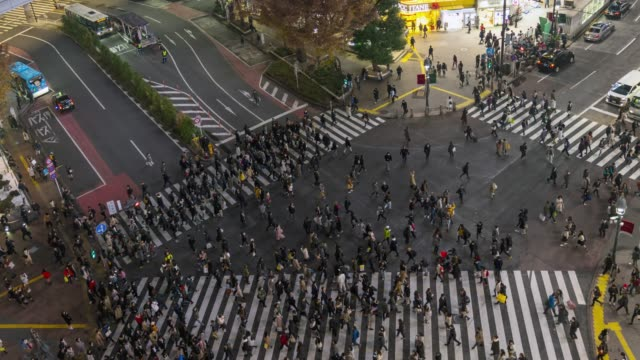 Time lapse aerial view of crowd people walking across with traffic at Shibuya crossing square with zoom out camera.