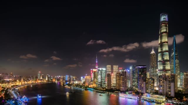 time lapse /aerial view of downtown shanghai at night - shanghai stock videos & royalty-free footage