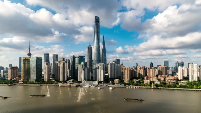 time lapse /aerial view of downtown shanghai - shanghai tower stock videos & royalty-free footage