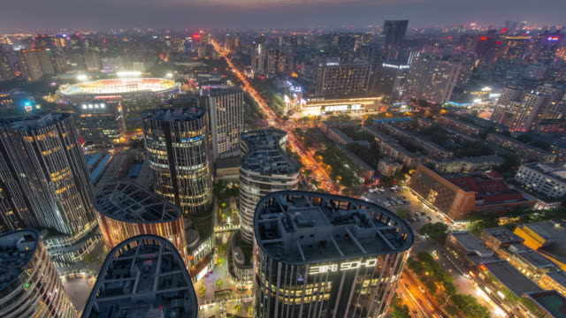 Time Lapse - Aerial View of Sanlitun, Beijing City Lines, Dusk to Night Transition