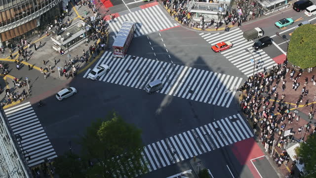 time lapse, aerial view of shibuya crossing, tokyo, japan - crossroad stock videos & royalty-free footage