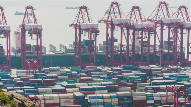 vidéos et rushes de 4k time lapse: vue aérienne du plus grand port industriel avec navire conteneurs - cargo