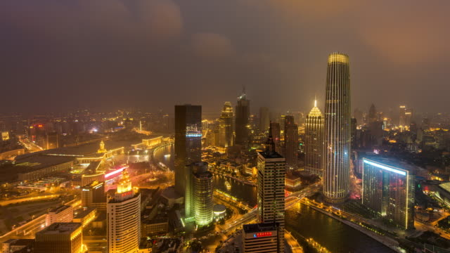 Time Lapse- Aerial View of Tianjin Skyline at Night (Panning)
