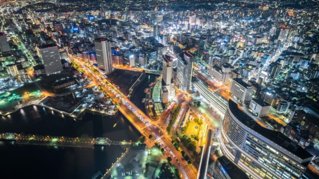 time lapse - aerial view of tokyo at night (zoom in) - cityscape stock videos & royalty-free footage