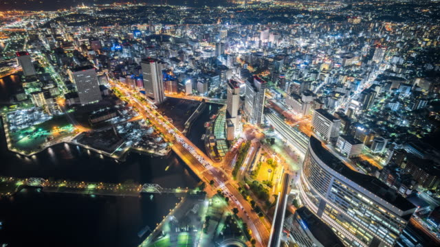 time lapse - aerial view of tokyo at night - tokyo japan stock videos and b-roll footage