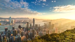 4K Time lapse Aerial view of Victoria Harbor, Hong Kong city