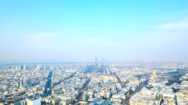 HD Time Lapse : Aerial view on Paris