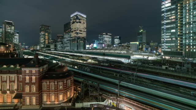 4K Time lapse aerial view Train trasportation of Tokyo Station and Marunouchi with various building cityscape and traffic railway at twilight time in Tokyo city, Japan. Transportation concept