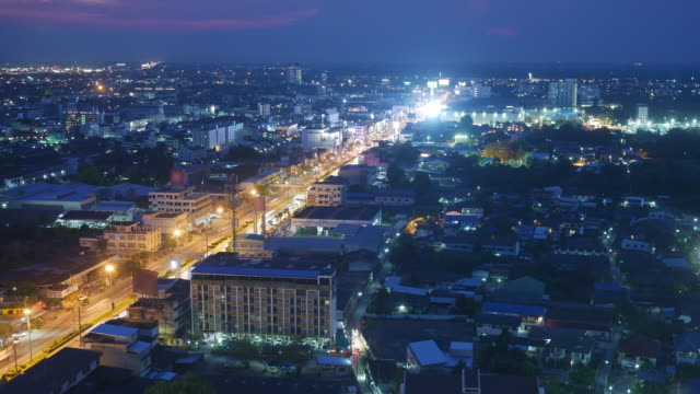 time lapse aerial view urban city night light, thailand - midnight stock videos & royalty-free footage