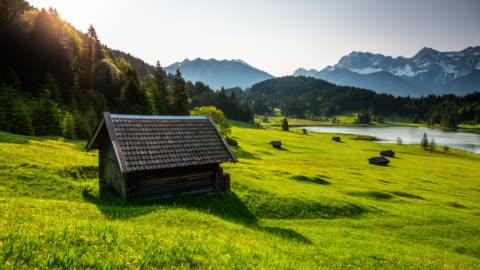 stockvideo's en b-roll-footage met time lapse: allgäuer berglandschap in beieren, duitsland - beieren