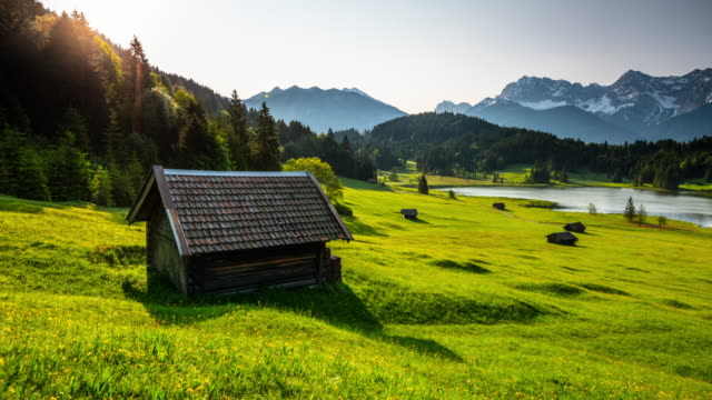 time lapse: allgäu mountain landscape in bavaria, germany - cabin stock videos & royalty-free footage