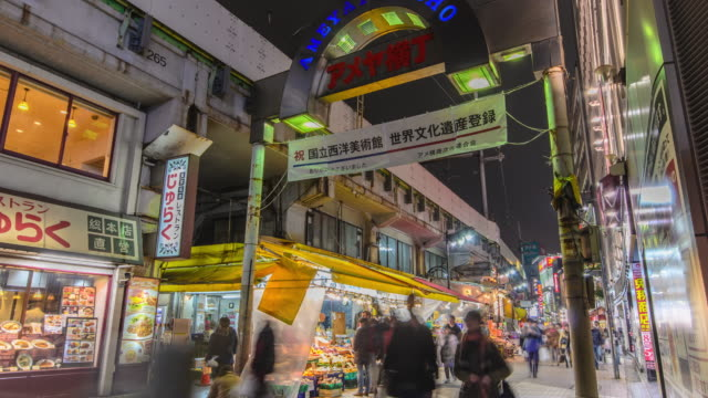 time lapse: ameyoko shopping street in tokyo , japan. - retail place stock videos & royalty-free footage