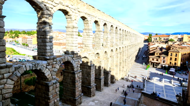 time lapse : ancient aqueduct in segovia,spain - segovia stock videos & royalty-free footage