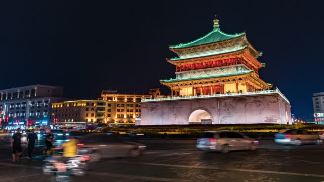 time lapse /ancient city of xian at night - honour guard stock videos & royalty-free footage