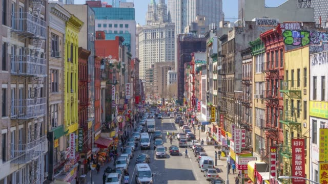 time lapse and high angle view of china town, manhattan, new york, usa - chinese culture stock videos & royalty-free footage