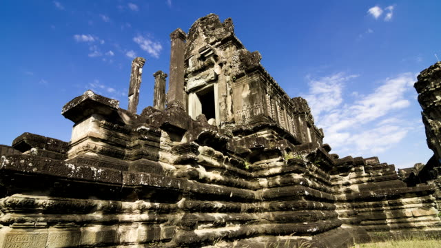 time lapse - angkor wat against blue sky - antiquities stock videos and b-roll footage