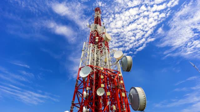 Kommunikation Turm Zeitraffer-Antenne und blauer Himmel