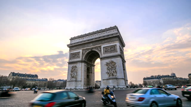 time lapse in hd: arco di trionfo - arco architettura video stock e b–roll