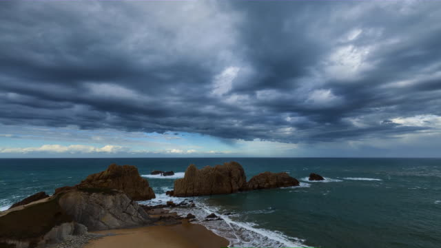 Time Lapse Arnia beach, Liencres Natural Park, Cantabria, Spain, Europe