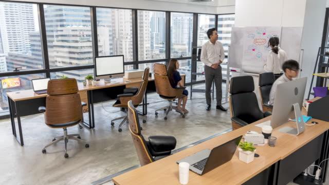 4k uhd tid förfaller: asiatisk anställd arbetar i moderna upptagen kontor. - vidvinkel bildbanksvideor och videomaterial från bakom kulisserna