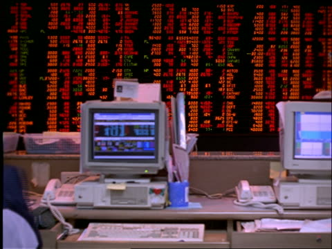 time lapse Asian people at computer + Stock Exchange board / Bangkok Securities Exchange / Thailand