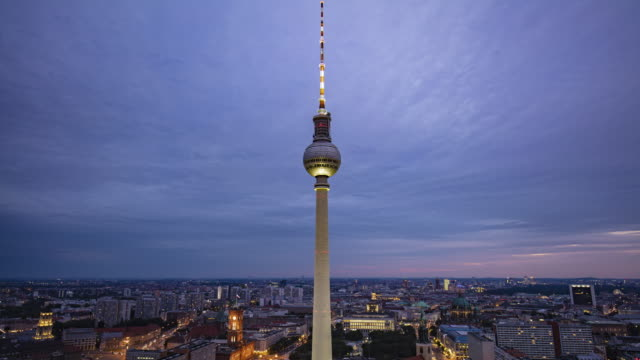 time lapse at berlin skyline with famous tv tower at alexanderplatz at dusk - german culture stock videos and b-roll footage