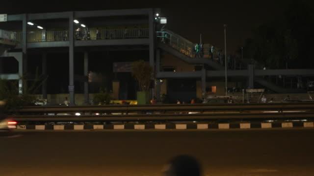 Time lapse at Chhatarpur metro station, looking towrads the foot bridge