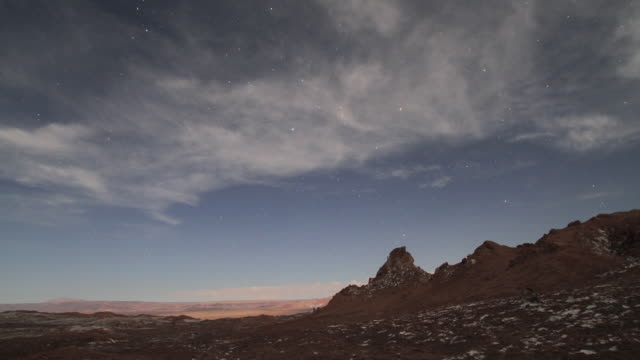 time lapse at night of clouds and stars at salt desert at valle de la luna in the atacama desert - atacama region stock videos & royalty-free footage