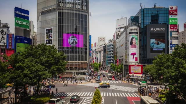 time lapse al shibuya crossing in una giornata di sole - sunny video stock e b–roll