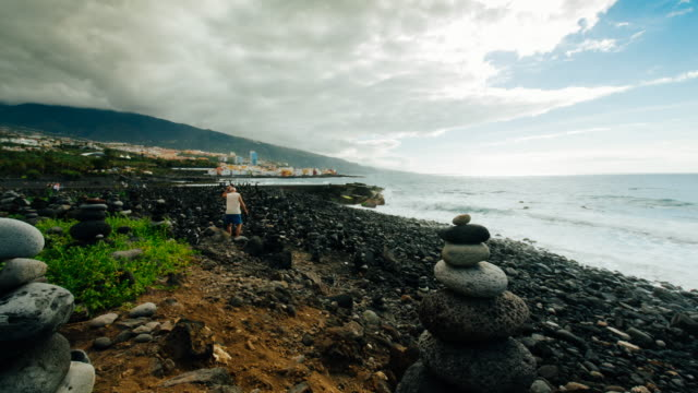 4K Time lapse at the beach in Puerto de la Cruz, Tenerife, Spain