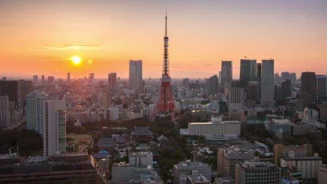 Zeitraffer Twilight Zeitpunkt Stadtbild der Tokyo Tower, Tokyo Skyline Kanto, Japan