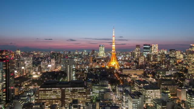 夕暮れ時東京スカイライン関東日本東京タワー都市景観の時間経過