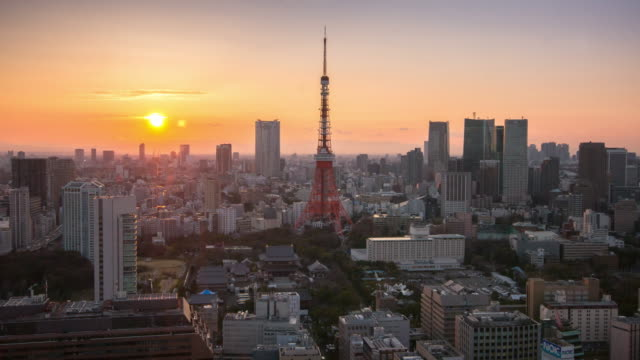 Time Lapse at Twilight time Cityscape of Tokyo Tower , Tokyo skyline kanto Japan
