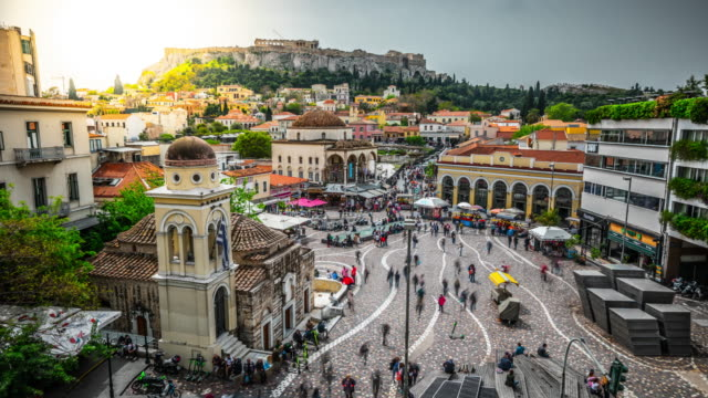 time lapse: athens monastiraki square and acropolis , greece - athens greece stock videos & royalty-free footage