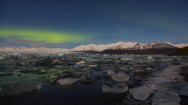 Time Lapse Aurora borealis, Jokulsarlon glacier lagoon, Southern Iceland, Iceland, Europe