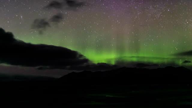 HD Time Lapse : Aurora over glacier lagoon