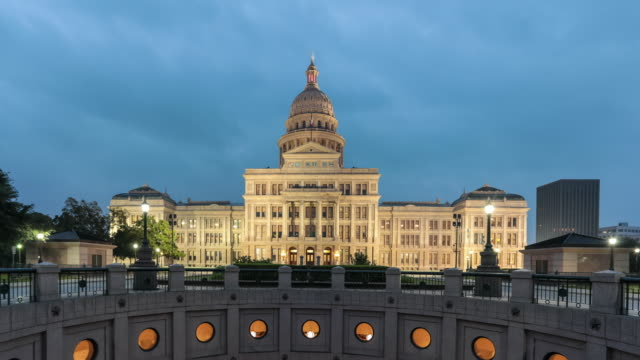 uhd 4k time lapse austin state capitol at sunrise, texas - capital cities stock videos & royalty-free footage