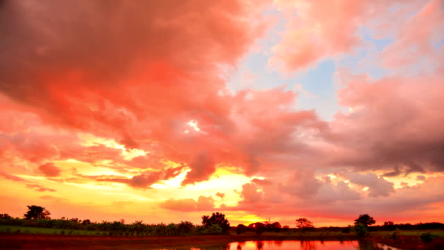 4k time lapse: background moving cloud at sunset beautiful in nature - lush stock videos & royalty-free footage