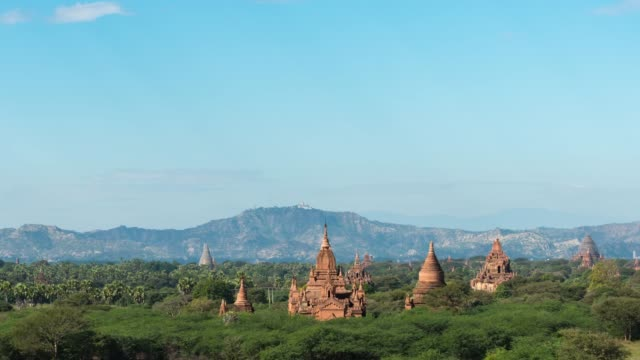 4k time lapse :   bagan temples ,old pagoda in bagan myanmar - myanmar stock videos and b-roll footage
