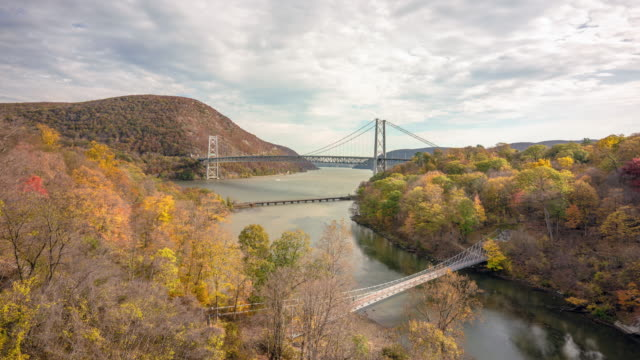 time lapse bear mountain bridge. hudson river. autumn fall leaves colorful hudson valley, new york. - hudson valley stock videos and b-roll footage