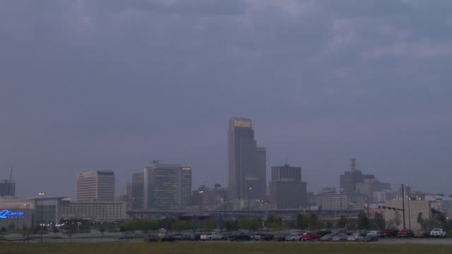 Time lapse beautiful Omaha cityscape from night through morning.