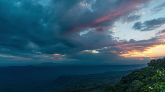 Time Lapse : Beautiful sunset sky over the mountain