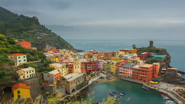 Time Lapse: Beautiful view of Vernazza town at Sunset, Cinque Terre, Liguria, Italy